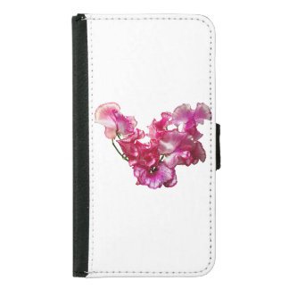 Funda Cartera Para Samsung Galaxy S5 Corazón rosado del guisante de olor