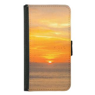 Funda Cartera Para Samsung Galaxy S5 Costa de la puesta del sol con Sun anaranjado y