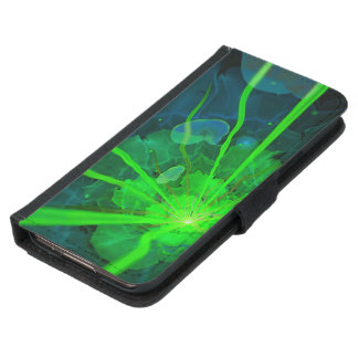 Funda Cartera Para Samsung Galaxy S5 Flor subacuática hermosa del fractal de la