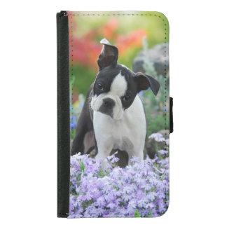 Funda Cartera Para Samsung Galaxy S5 Foto animal de Boston Terrier del perrito lindo