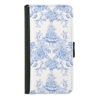 Funda Cartera Para Samsung Galaxy S5 Moda francesa, lamentable, vintage, azul claro,
