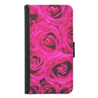 Funda Cartera Para Samsung Galaxy S5 Modelo púrpura rosado romántico de los rosas