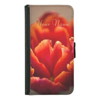 Funda Cartera Para Samsung Galaxy S5 Pétalos rojos bonitos del tulipán. Añada su nombre