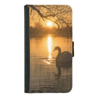 Funda Cartera Para Samsung Galaxy S5 Puesta del sol con el cisne