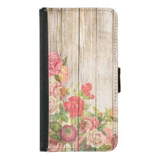 Funda Cartera Para Samsung Galaxy S5 Rosas románticos rústicos del vintage de madera