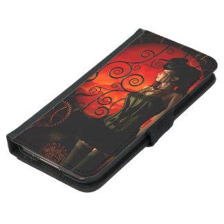 Funda Cartera Para Samsung Galaxy S5 Steampunk, señora maravillosa del steampunk en la