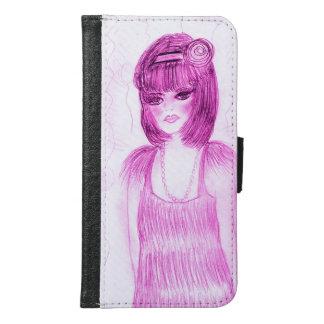 Funda Cartera Para Samsung Galaxy S6 Aleta de la chica marchosa en rosas fuertes