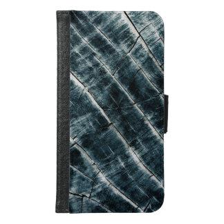 Funda Cartera Para Samsung Galaxy S6 Azul pintado de madera