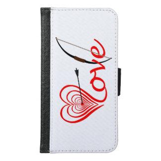 Funda Cartera Para Samsung Galaxy S6 Corazón amor blanco con flecha y arco