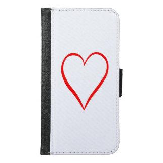 Funda Cartera Para Samsung Galaxy S6 Corazón pintado en fondo blanco