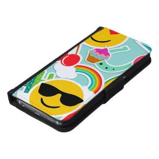 Funda Cartera Para Samsung Galaxy S6 Modelo del pegatina de Emoji de la diversión