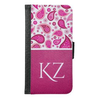 Funda Cartera Para Samsung Galaxy S6 Paisley y cuero rosados bonitos w/Monogram