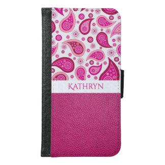 Funda Cartera Para Samsung Galaxy S6 Paisley y cuero rosados bonitos w/Name