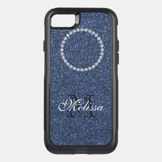 Funda Commuter De OtterBox Para iPhone 8/7 Brillo azul y diamantes, su nombre e inicial