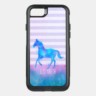 Funda Commuter De OtterBox Para iPhone 8/7 Caballo en la acuarela azul y púrpura