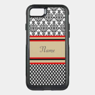 Funda Commuter De OtterBox Para iPhone 8/7 Monograma negro del damasco
