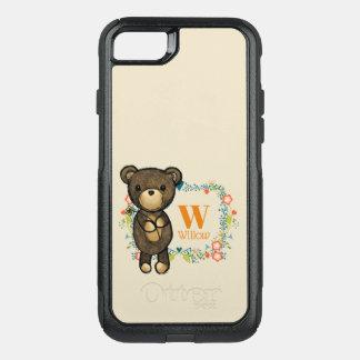 Funda Commuter De OtterBox Para iPhone 8/7 Oso de peluche, flor amarilla y monograma floral