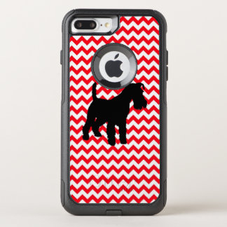 Funda Commuter De OtterBox Para iPhone 8 Plus/7 Pl Coche de bomberos Chevron rojo con el Schnauzer