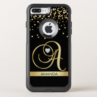 Funda Commuter De OtterBox Para iPhone 8 Plus/7 Pl Corazón con monograma del diamante del corazón del