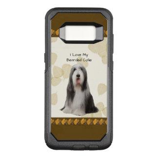 Funda Commuter De OtterBox Para Samsung Galaxy S8 Collie barbudo en las hojas del moreno