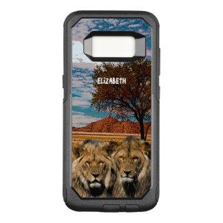 Funda Commuter De OtterBox Para Samsung Galaxy S8 Dos leones salvajes en fondo africano de la sabana