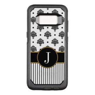 Funda Commuter De OtterBox Para Samsung Galaxy S8 El damasco blanco negro puntea el monograma del