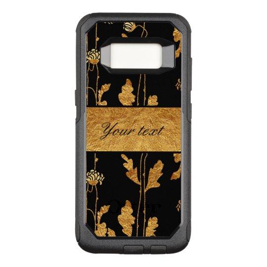 Funda Commuter De OtterBox Para Samsung Galaxy S8 Falsas flores elegantes de la hoja de oro en negro