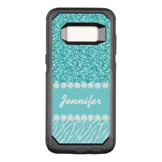 Funda Commuter De OtterBox Para Samsung Galaxy S8 Femenino, brillo del trullo, rayas de la cebra
