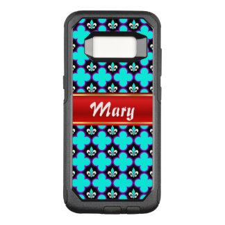 Funda Commuter De OtterBox Para Samsung Galaxy S8 Flor de lis y quatrefoils con la raya para el