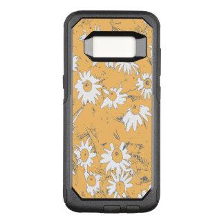 Funda Commuter De OtterBox Para Samsung Galaxy S8 Flores blancas del cono con el fondo anaranjado