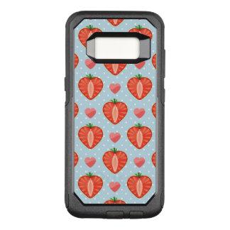 Funda Commuter De OtterBox Para Samsung Galaxy S8 Fresas del corazón con los lunares y los corazones