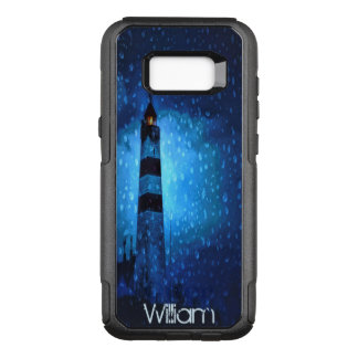 Funda Commuter De OtterBox Para Samsung Galaxy S8+ La noche oscura con el faro y las gotas de agua