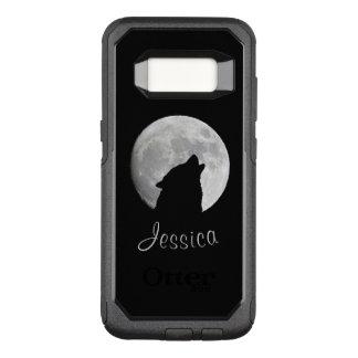 Funda Commuter De OtterBox Para Samsung Galaxy S8 Lobo que grita en la Luna Llena, su nombre
