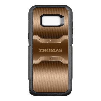 Funda Commuter De OtterBox Para Samsung Galaxy S8+ Mirada cepillada marrón clara con monograma del