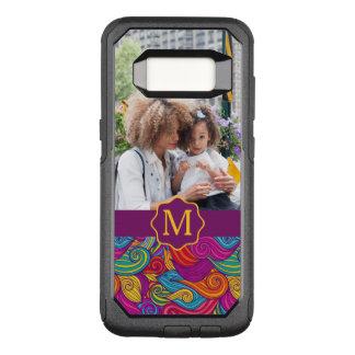 Funda Commuter De OtterBox Para Samsung Galaxy S8 Modelo de onda colorido retro de Swirly del tono
