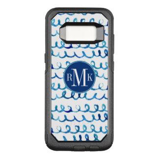 Funda Commuter De OtterBox Para Samsung Galaxy S8 Modelo ondulado de la acuarela azul pintada a mano