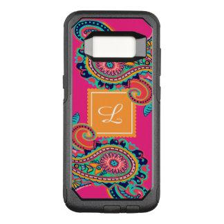 Funda Commuter De OtterBox Para Samsung Galaxy S8 Monograma brillante de Paisley del rosa de arco