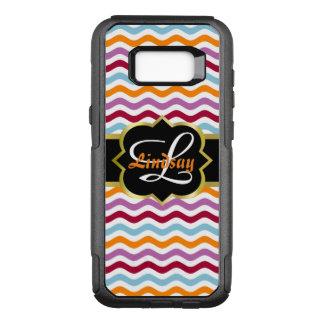 Funda Commuter De OtterBox Para Samsung Galaxy S8+ Monograma de Quatrefoil y ondas retras coloridas