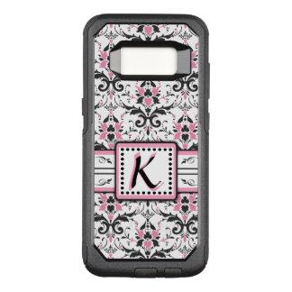 Funda Commuter De OtterBox Para Samsung Galaxy S8 Monograma negro y rosado del damasco