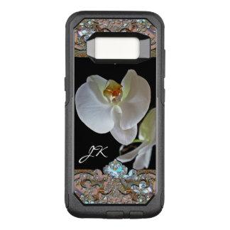 Funda Commuter De OtterBox Para Samsung Galaxy S8 Monograma VIII floral bonito de la orquídea