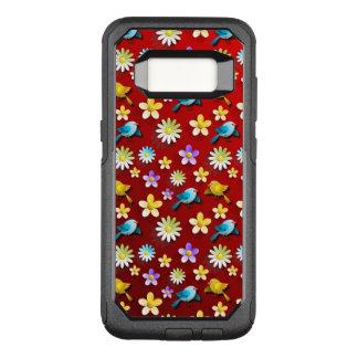 Funda Commuter De OtterBox Para Samsung Galaxy S8 Pájaros y flores de la primavera roja