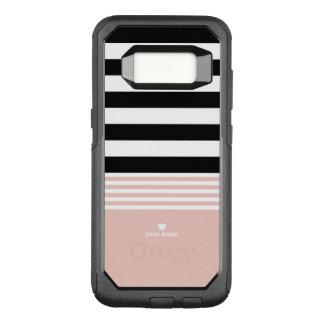 Funda Commuter De OtterBox Para Samsung Galaxy S8 Rayado negro, blanco y rosado personalizado