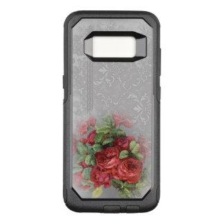 Funda Commuter De OtterBox Para Samsung Galaxy S8 Rosas rojos del vintage en la caja gris de la