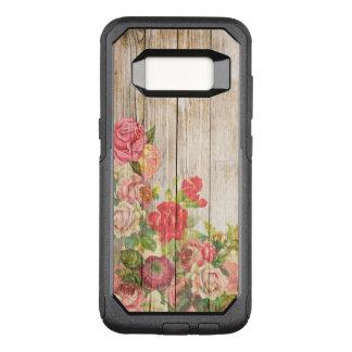 Funda Commuter De OtterBox Para Samsung Galaxy S8 Rosas románticos rústicos del vintage de madera