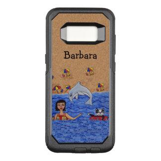 Funda Commuter De OtterBox Para Samsung Galaxy S8 Señora Cat Dolphin Swimming en la playa de Sandy