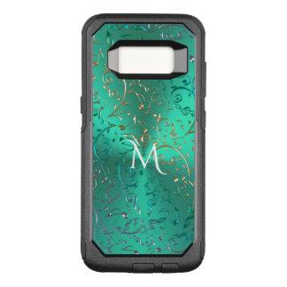 Funda Commuter De OtterBox Para Samsung Galaxy S8 Verde metálico del monograma con las notas