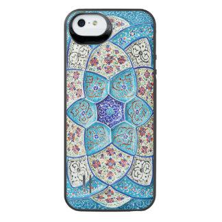 Funda Con Batería Para iPhone SE/5/5s Azules turquesas marroquíes tradicionales, blanco,