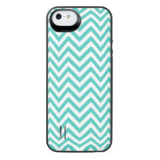 Funda Con Batería Para iPhone SE/5/5s El zigzag azul y blanco del trullo raya el modelo