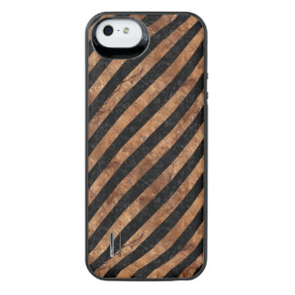 FUNDA CON BATERÍA PARA iPhone SE/5/5s PIEDRA NEGRA DEL MÁRMOL STRIPES3 Y DE BROWN
