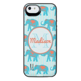 Funda Con Batería Para iPhone SE/5/5s Turquesa del trullo, elefantes azules, nombre de
